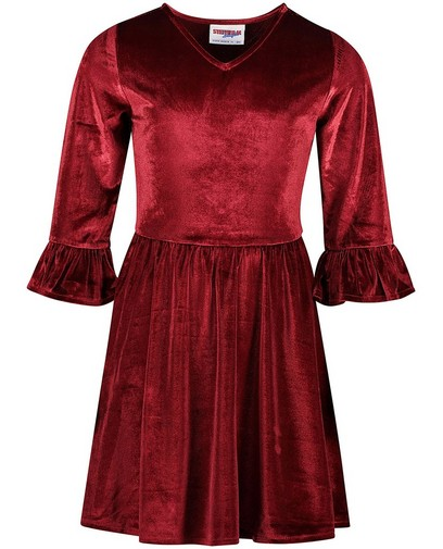 Fluwelen jurk in rood Steffi Mercie