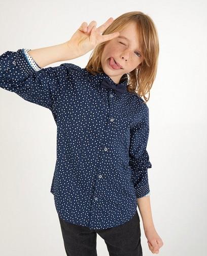 Blauw hemd met print, 7-14 jaar