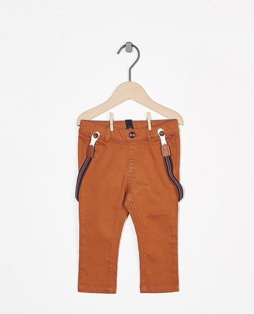 Pantalon brun orangé avec des bretelles - amovible - Cuddles and Smiles
