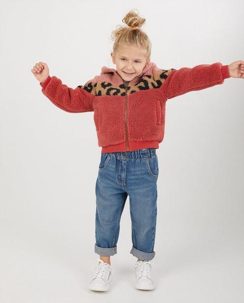 Manteau peluche rose Looxs - avec imprimé panthère - Looxs