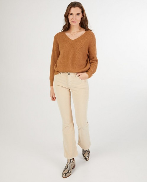 Pantalon bootcut en velours côtelé Sora - écru - Sora