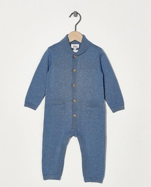 Grenouillère bleue en coton bio - en fin tricot - Newborn