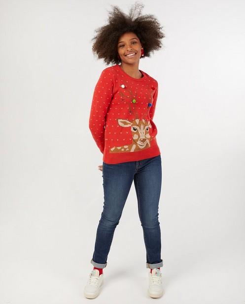 Pull de Noël rouge avec renne, femmes - #familystoriesJBC - Familystories