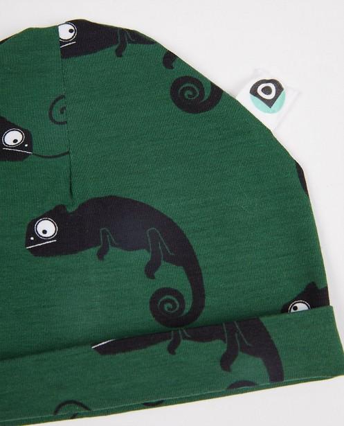 Strickware - Grüne Mütze mit Print Onnolulu