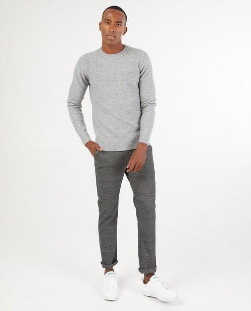Pull gris en tricot - en fin tricot - Quarterback