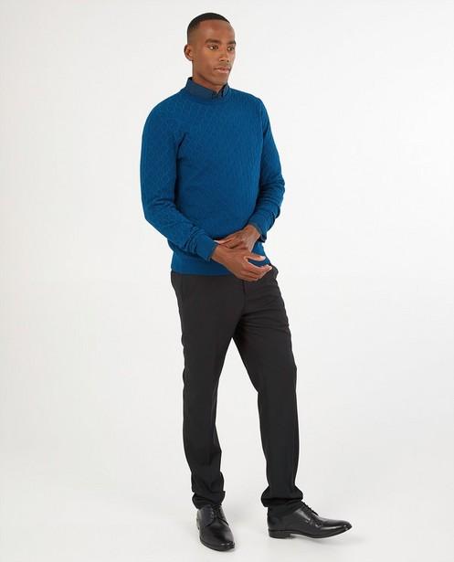 Blauwe gebreide trui - gebreid patroon - Iveo