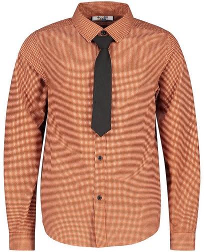 Bruin hemd met stropdas