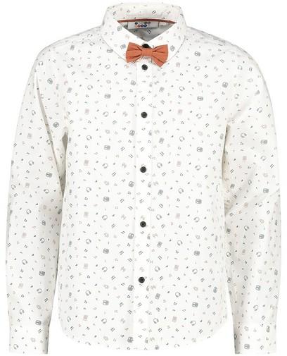 Wit hemd met print + strikje