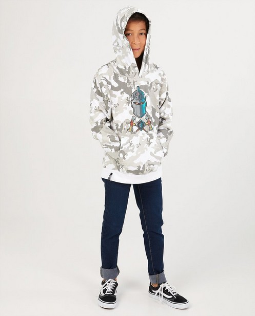 Weißer Hoodie mit Print Fortnite - durchgehend - Fortnite