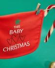 Babyspulletjes - Rood kerstslabbetje met opschrift