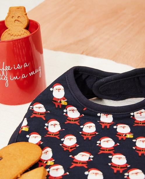 Babysachen - Blaues Weihnachtslätzchen mit Print