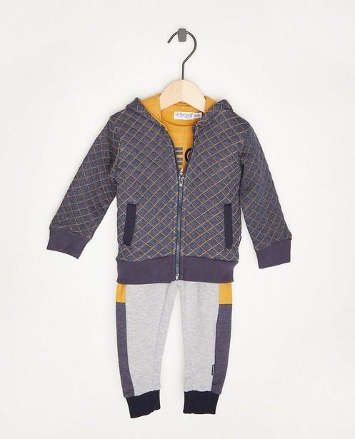 Set composé de 3 pièces: pantalon, t-shirt et gilet Dirkje - bleu, gris et jaune - Dirkje