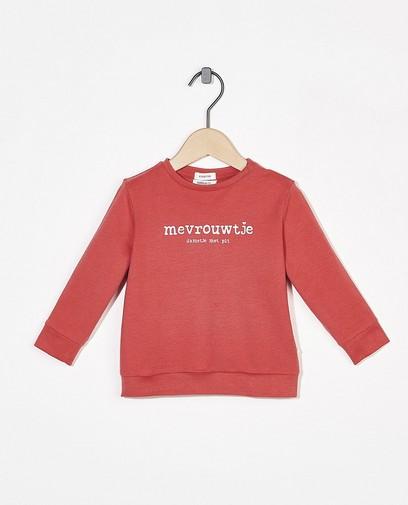 Roze sweater met opschrift (NL)