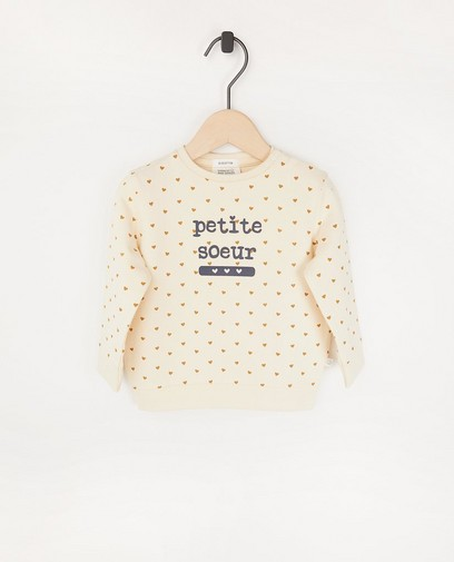 Offwhite sweater met opschrift (FR)