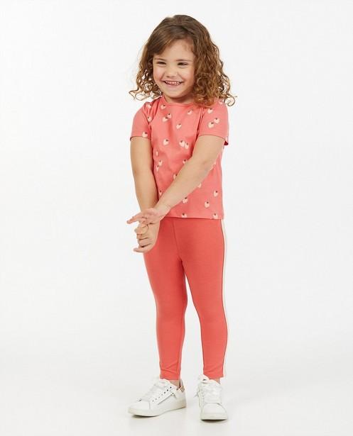 Roze T-shirt met print BESTies - aardbeitjes - Besties