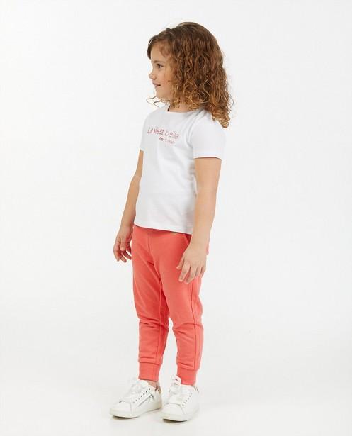 Wit T-shirt met opschrift BESTies - met glitter - Besties