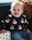 Pull bleu avec bonhomme de neige - en fin tricot - Cuddles and Smiles