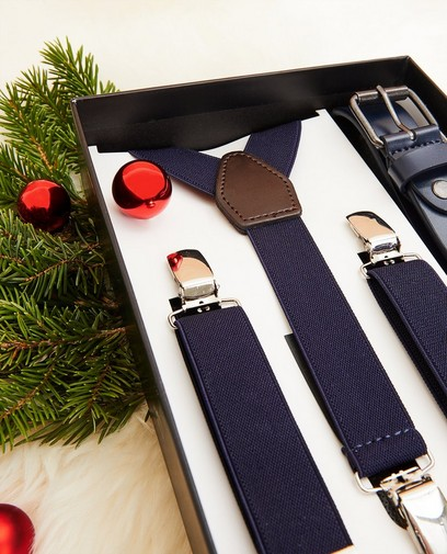 Ensemble: ceinture + bretelles bleues