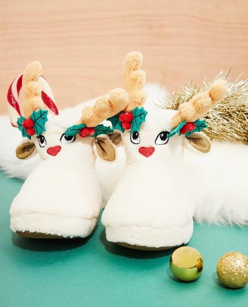 Off-white kerstpantoffels, maat 23-32 - Rudolf - JBC