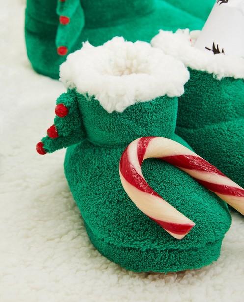 Groene kerstpantoffels, maat 23-32 - kerstboom - JBC