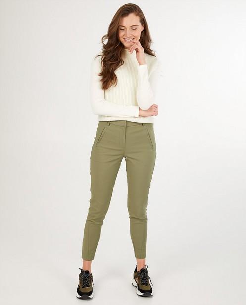Pantalon habillé vert Pièces - à plis de repassage - Pieces