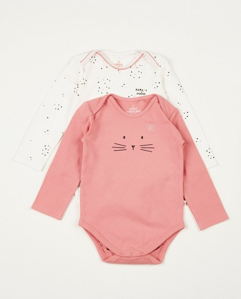 Set van 2 rompertjes - roze en wit - Cuddles and Smiles