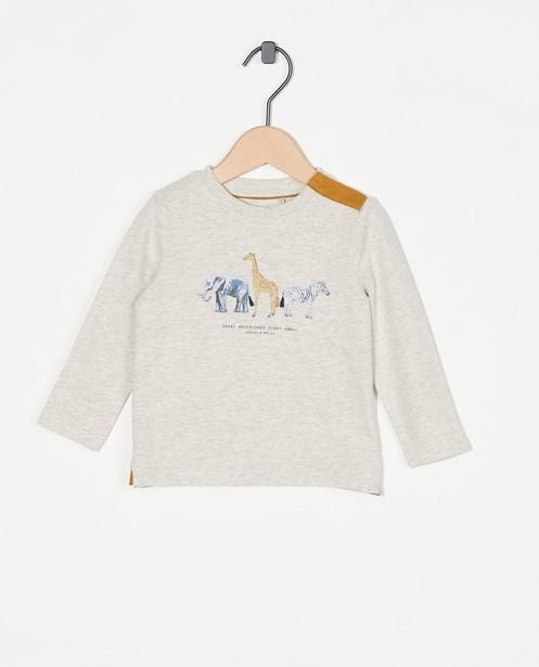 T-shirt gris clair à manches longues avec imprimé - chiné - Cuddles and Smiles