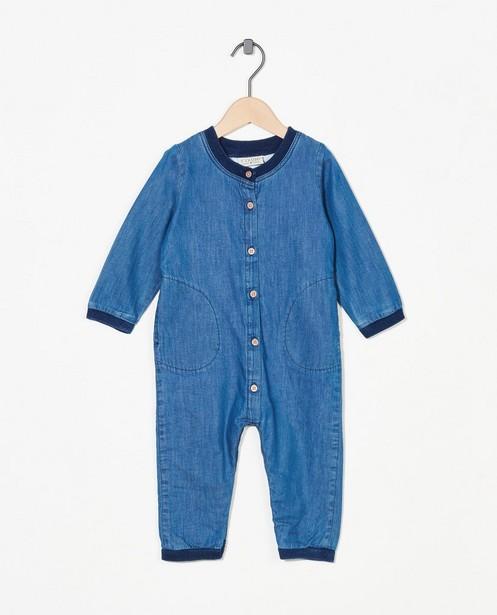 Grenouillère bleue en denim Fixoni - petits boutons - Fixoni