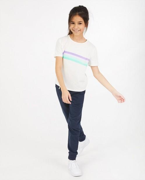 Wit T-shirt met strepen BESTies - en opschrift - Besties