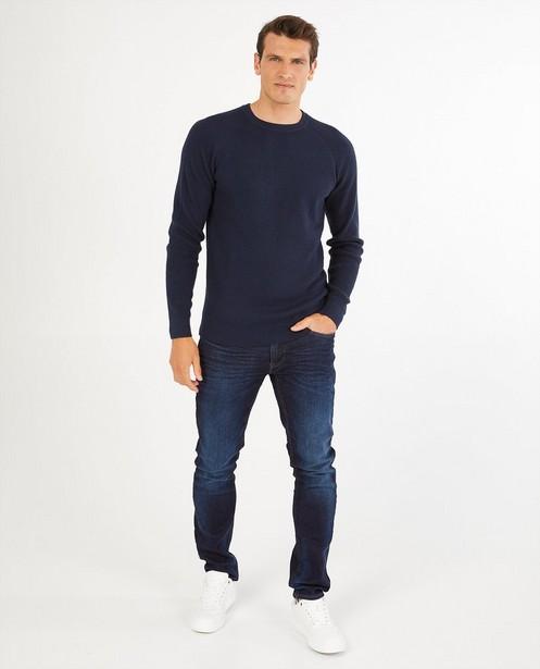 Pull bleu avec relief - en tricot - Quarterback