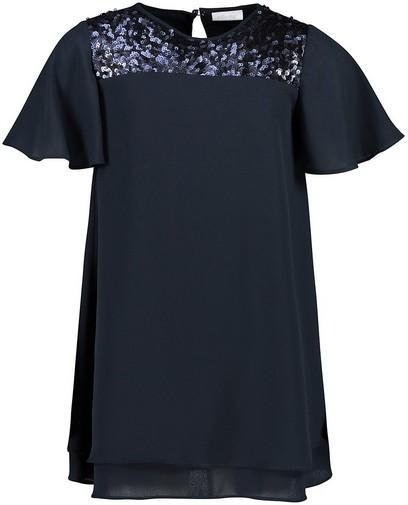 Blauwe jurk met pailletten Communie