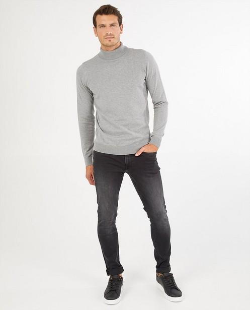 Pull à col roulé gris en coton bio - fin tricot - Iveo