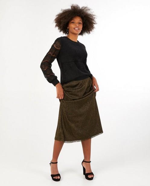 Zwarte trui met kant Sora - van fijne brei - Sora