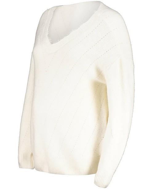 Pull blanc avec une partie ajourée JoliRonde - grossesse - Joli Ronde