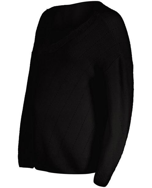 Pull noir avec une partie ajourée JoliRonde - grossesse - Joli Ronde