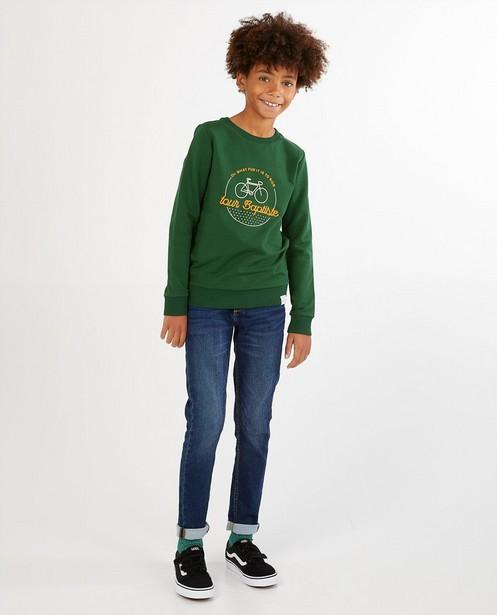 Groene sweater Baptiste, 7-14 jaar - met opschrift - Baptiste