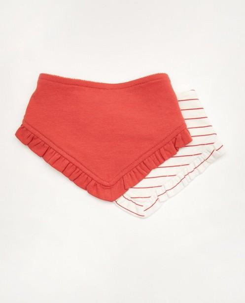 Set van 2 spuugdoekjes - rood en wit - Cuddles and Smiles
