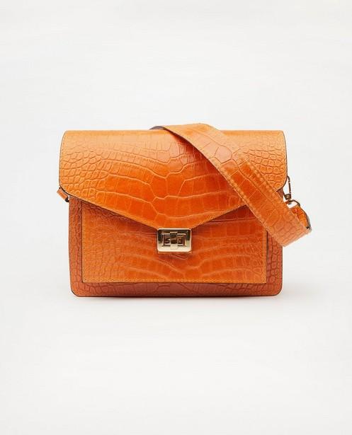 Sac à main orange en cuir - imprimé rainuré - JBC
