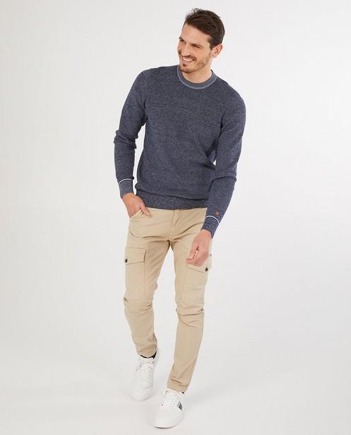 Beige cargo slim fit broek Vic - met klepzakken - Quarterback
