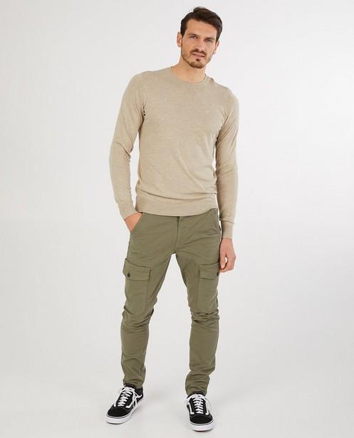 Pantalon cargo slim fit vert Vic - poches à rabat - Quarterback