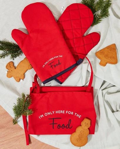 Set: schort + ovenwant in rood