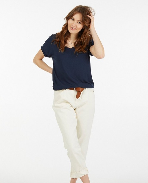 T-shirt bleu foncé avec un col en V Sora - stretch - Sora