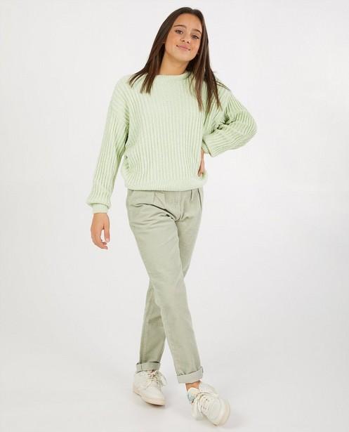 Lichtgroene trui van chenille - gebreid - Groggy