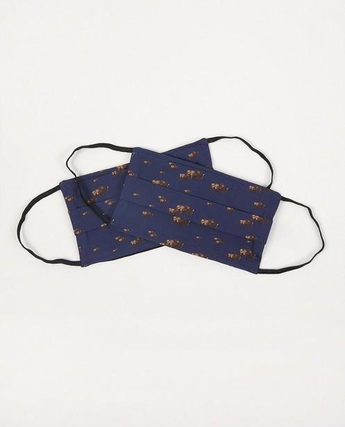 2 blauwe mondmaskers met bizons - set van 2 - Fish & Chips