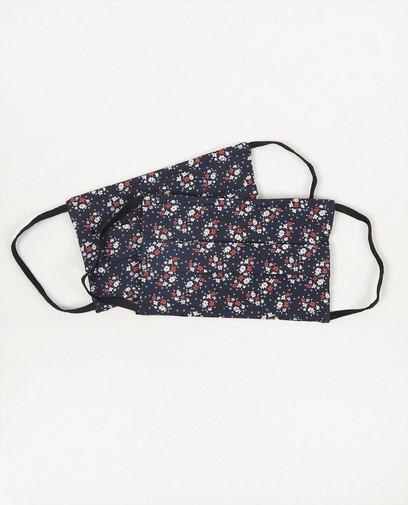 2 mondmaskers met bloemen - blauw