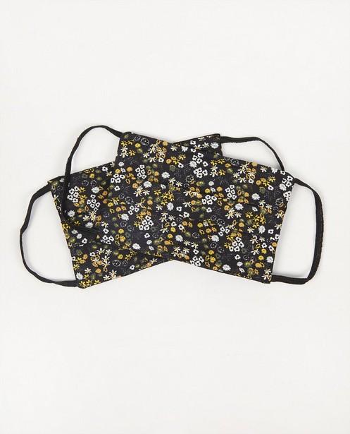 2 mondmaskers met bloemen - zwart - set van 2 - JBC