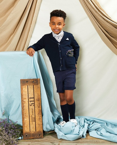 Gilet bleu avec pochette Communion - en fin tricot - Kidz Nation
