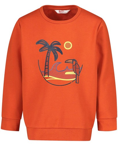 Oranje sweater met print BESTies