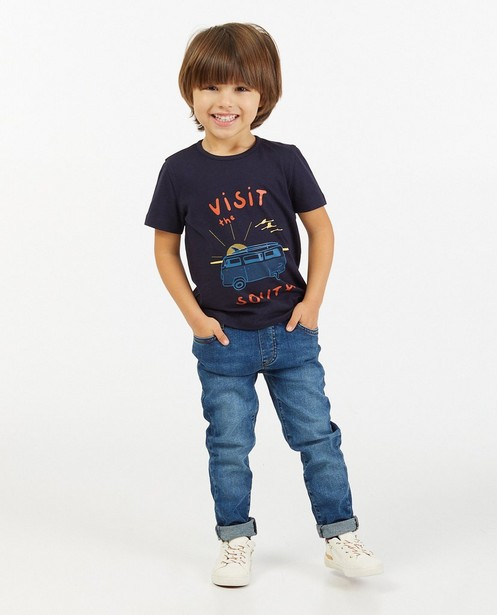 Blauw T-shirt met print BESTies - stretch - Besties