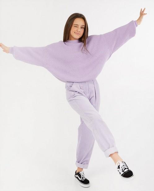 Pull lilas - à motif tricoté - Groggy